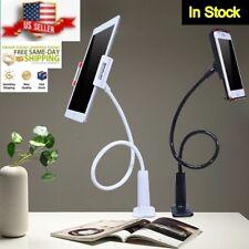 Black Flexible Arm Tablet Phone Holder Bedside Desk Goose Neck Universal Bracket