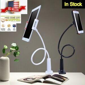 White Flexible Arm Tablet Phone Holder Bedside Desk Goose Neck Universal Bracket