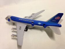 "Turbo Jet 747 Air Plane, 7.5"" Die Cast Pull Back, United States Of America Blue"