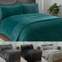 Luxury Pinsonic Velour Duvet Set & Pillowcase Sleepdown Bedding Single Double