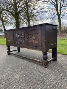 Antique Hand Carved Jacobean Style Oak Sideboard Server Cupboard C18th