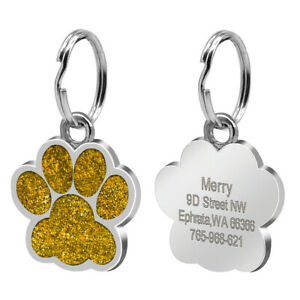 Bling Dog Cat Personalized ID Tags Custom for Pet Collars Name Engraved Bone Paw