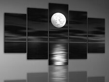 Modern Abstract Wall Art Black Sky White Full Moon Night Painting Canvas Framed