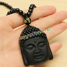 Natural Black Obsidian Carved Buddha Blessing Lucky Amulet Pendant Necklace