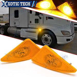 LED Front Cab Flare Side Marker Turn Signal Lights For Kenworth T660 T170 T270
