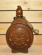 Vintage carved wood brandy flask bottle