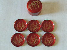 ORIENTAL NEW  Red lacquer coaster set IN BOX SIX BEAUTIFUL GREAT  PRESENT JAPAN