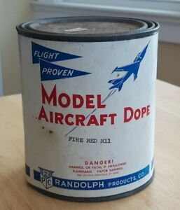 AIRCRAFT DOPE flight proven FIRE RED M11 RANDOLPH PRODUCTS 1 QUART CAN vtg OLD