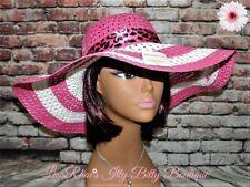 SPRING FASHION Pink & White Womens FLoPPy Beach Garden Easter Derby SuN HaT