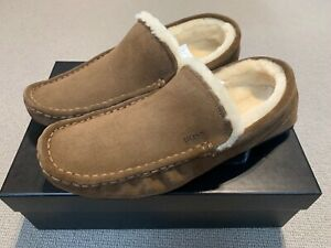 Hugo Boss Relax Moccasin Fur Lined Slippers, Brown, UK9 New With Box RRP £119