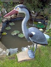 Great Blue Heron Decoy 71cm Tall With Stakes & Legs For Pond Protection