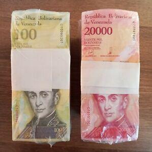 2017 Venezuela (2) 20,000 & 100,000 Bolivares 2000 Pcs BRICKS 2 BLOCKS UNC
