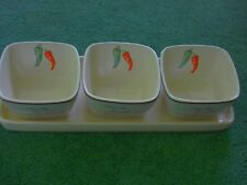 JULIAN GRAVE VINTAGE TOULOUSE CERAMIC TRAY AND 3 SQUARE SERVING DISHES CRUDITIES