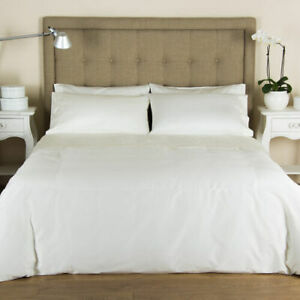 FRETTE LUXURY PERCALE QUEEN DUVET COVER + MATCHING STANDARD PILLOWCASES IVORY