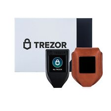 New Trezor model T GEN 2 hardware wallet with CryptoHWwallet Brown leather case