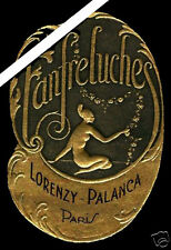 French Perfume Label: Art Deco Antique Embossed Fanfreluches Palanca Paris