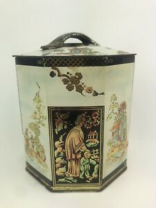 1950's Peek Frean & Co. Oriental Biscuit Tea Tin Box Home Display Octagonal