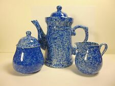 VINTAGE COBALT BLUE PORCELAIN STONEWARE COFFEE/TEA POT,CREAMER & SUGAR BOWL SET