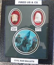"Fired US & CS Civil War Bullets In A 5"" X 6"" Matted Display -  Manassas - NEW"