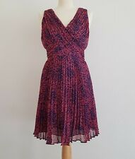 WHISTLES Navy & Pink Cross-Over Pleated Chiffon Dress with Zip Back UK 12 EU 40