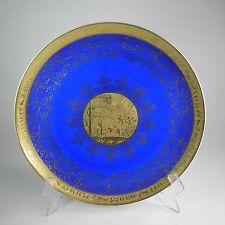 """German Porcelain Gold Encrusted Charger Plate 13.25"""" Cobalt Blue Karlsbader"""