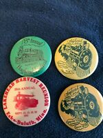 (4) Vintage Train Tractor 2'' Button Pins - Hoghead Festival Lakehead Harvest MN