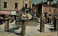 Capodistria Slowenien Postkarte ~1910/20 Fontana in Piazza Ponte Piccolo Brunnen