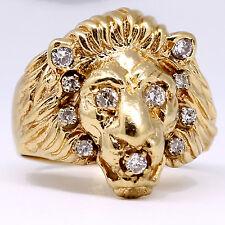 Herren Löwe Ring Diamant .25 Ct D Vs1 14k Gelbgold