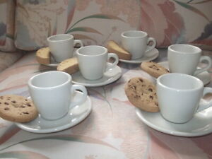 Ultima China Lot of Six Cups and Saucers Vintage Restaurant Wear Espresso Set