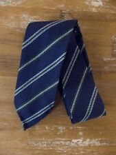 auth DRAKE'S Drakes of London blue self-tipped striped silk tie - NWOT