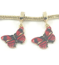 Fashion 2pcs Gold Butterfly European Charm Spacer Beads Fit Necklace Bracelet