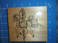 CAROUSEL HORSE MERRY GO ROUND CARNIVAL Wood Mounted Rubber Stamp JRL