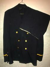 Vtg 40 50S Wool Double Breasted Firemans Uniform Suit Jacket Button Fly Pants