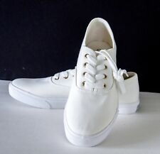 Men's Brook Brothers White Canvas Low Top Sneakers Size 11.5M