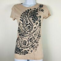 J Crew Womans Top Sz S Mauve Short Sleeve Summer Graphic T Shirt GJ33