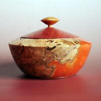 Buchen-Knollen Dose mit Padouk Holz und Epoxidharz, gedrechselt, Handarbeit