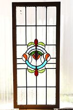 Large Tall Antique Stained Glass Window Fantastic Eight color Art Nouveau (3124)