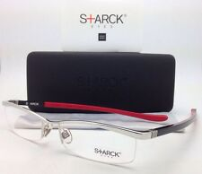 New MIKLI STARCK Eyeglasses PL 0001 MO4G 56-17 Silver Frame w/ Black Red Temples