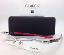 New MIKLI STARCK Eyeglasses PL 0001 MO4G 56-17 Silver Frame w/ Black Red Temples