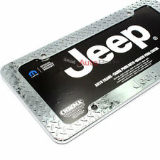 Jeep Logo Chrome Treadplate Metal License Plate Tag Frame for Auto-Car-Truck
