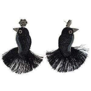 NWT NEW Bird Earrings Seed Bead Sequin Lightweight Boho Statement Tassel Black