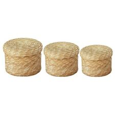 3 Pcs/Set Handmade Straw Woven Storage Basket With Lid Snack Organizer Stor Z3J3