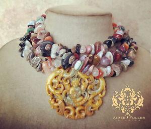 Gem Mix Citrine Quartz Agate Jasper Stone Statement Necklace Carved Jade Pendant