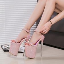 Women Super High Heel Stilettos Platform Open Toe Ankle Strap Sandals Sexy Prom