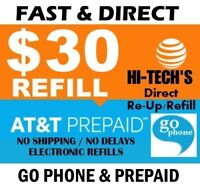 $30 AT&T GO PHONE FAST REFILL DIRECT to PHONE 🔥 GET IT TODAY! 🔥 TRUSTED SELLER