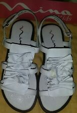 New Nina Kids size 2M Girl's White Leather Sandals