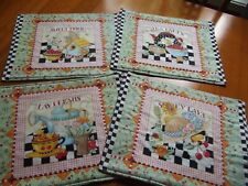 Set 4 Mary Engelbreit Quilted Place mats Handmade Sunny Days Dreams Tea Party