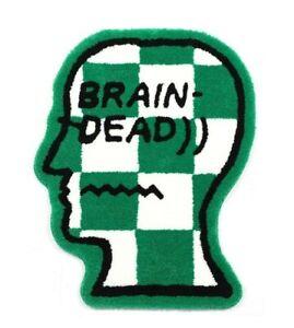 Brain Dead Checkered Head Logo Mat/Rug, Green Brand New Sealed