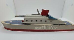"1940's KEYSTONE No. 255 U.S. Navy Radar Rocket Ship 14"" Wood Missile Ship Toy"