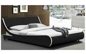 Deluxe King Size Platform Bed Frame w/Curved Adjustable Faux Leather Headboard.
